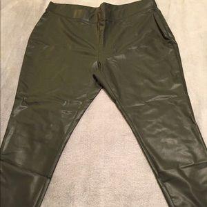 Green leather leggings
